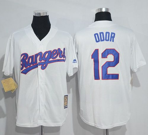 Mitchell And Ness Rangers #12 Rougned Odor White Throwback Stitched MLB Jersey