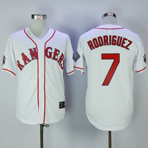 Rangers #7 Ivan Rodriguez White Throwback Stitched MLB Jersey