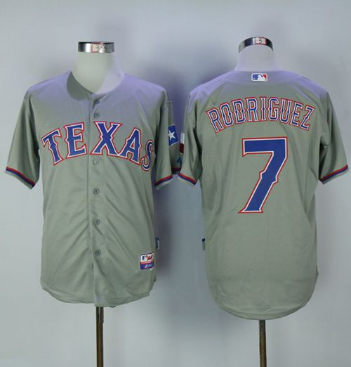 Rangers #7 Ivan Rodriguez Grey Cool Base Stitched MLB Jersey