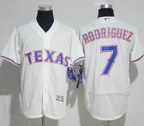 Rangers #7 Ivan Rodriguez White Flexbase Authentic Collection Stitched MLB Jersey