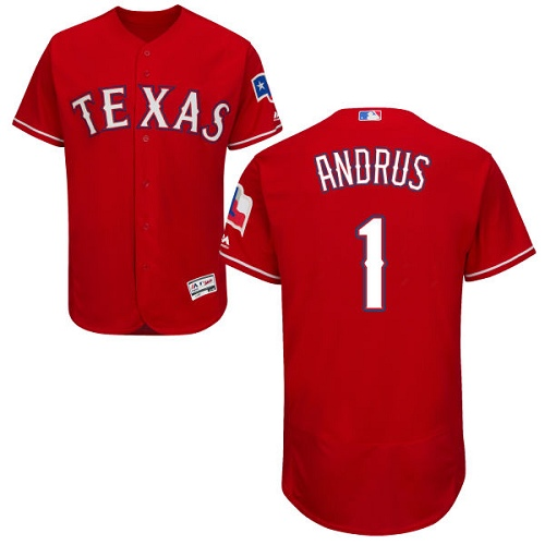 Rangers #1 Elvis Andrus Red Flexbase Authentic Collection Stitched MLB Jersey