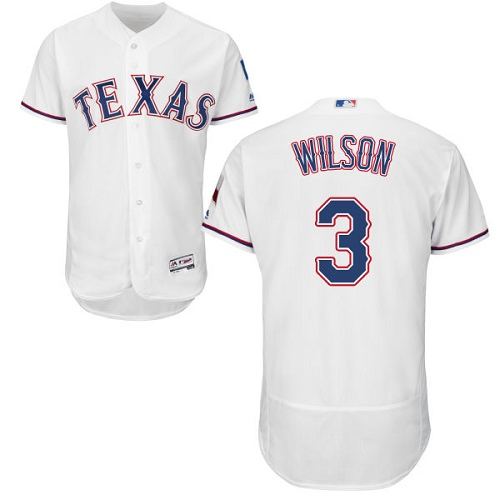 Rangers #3 Russell Wilson White Flexbase Authentic Collection Stitched MLB Jersey
