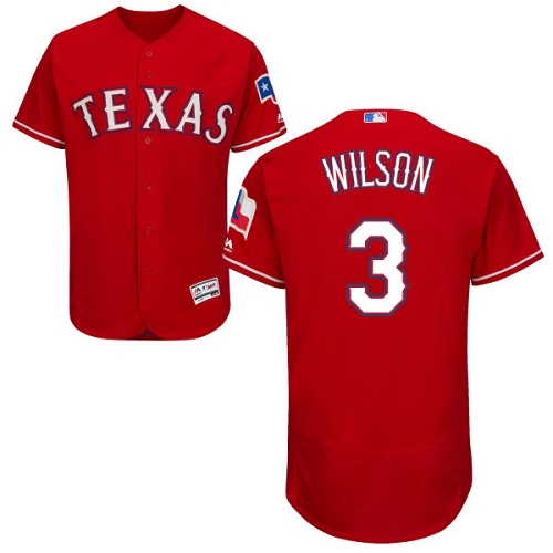 Rangers #3 Russell Wilson Red Flexbase Authentic Collection Stitched MLB Jersey