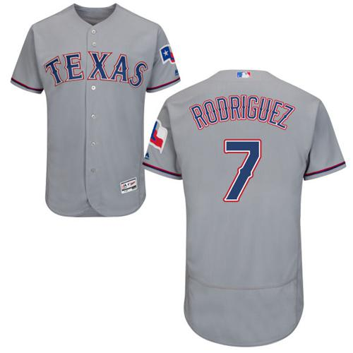 Rangers #7 Ivan Rodriguez Grey Flexbase Authentic Collection Stitched MLB Jersey