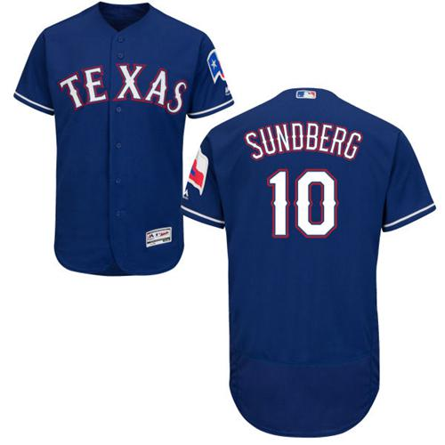 Rangers #10 Jim Sundberg Blue Flexbase Authentic Collection Stitched MLB Jersey