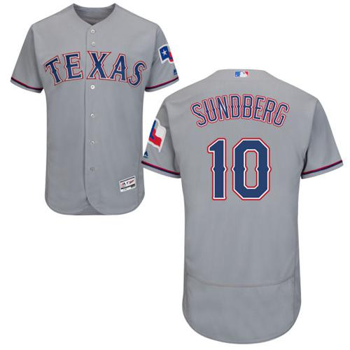 Rangers #10 Jim Sundberg Grey Flexbase Authentic Collection Stitched MLB Jersey