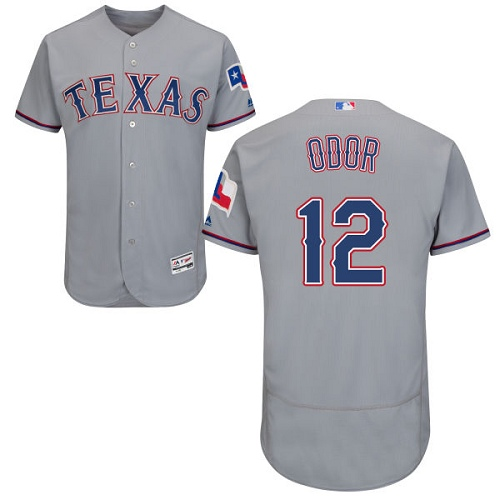 Rangers #12 Rougned Odor Grey Flexbase Authentic Collection Stitched MLB Jersey
