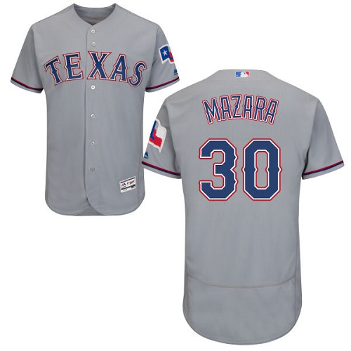Rangers #30 Nomar Mazara Grey Flexbase Authentic Collection Stitched MLB Jersey