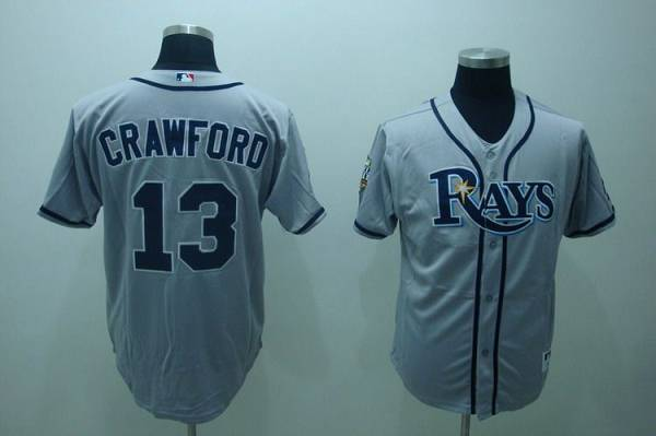 Rays #13 Carl Crawford Stitched Grey MLB Jersey