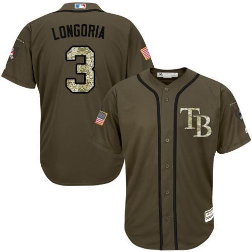 Rays #3 Evan Longoria Green Salute to Service Stitched MLB Jersey