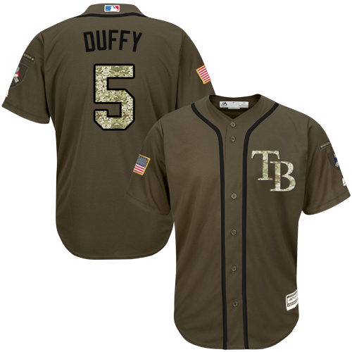 Rays #5 Matt Duffy Green Salute to Service Stitched MLB Jersey