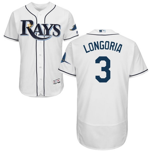 Rays #3 Evan Longoria White Flexbase Authentic Collection Stitched MLB Jersey