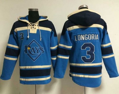 Rays #3 Evan Longoria Light Blue Sawyer Hooded Sweatshirt MLB Hoodie