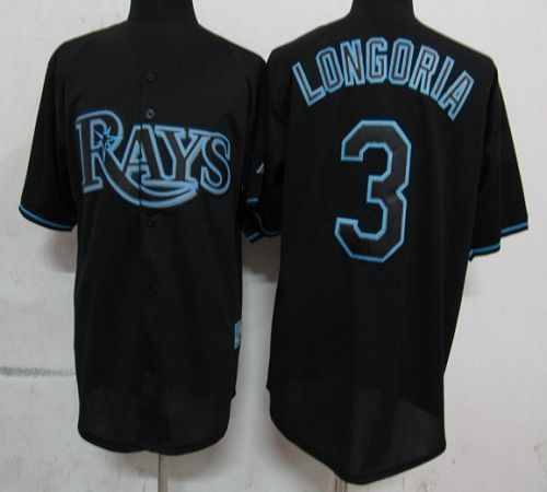Rays #3 Evan Longoria Black Fashion Stitched MLB Jersey