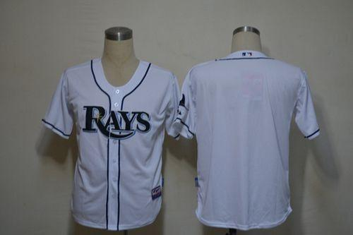 Rays Blank White Cool Base Stitched MLB Jersey