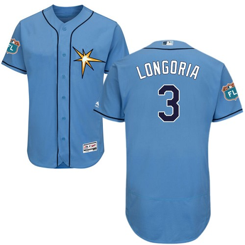 Rays #3 Evan Longoria Light Blue Flexbase Authentic Collection Stitched MLB Jersey