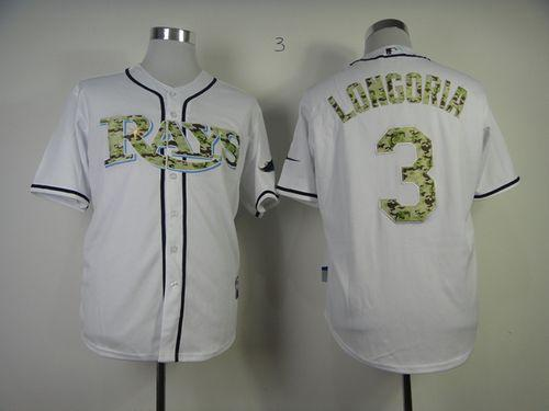 Rays #3 Evan Longoria White USMC Cool Base Stitched MLB Jersey