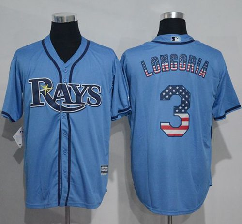 Rays #3 Evan Longoria Light Blue USA Flag Fashion Stitched MLB Jersey