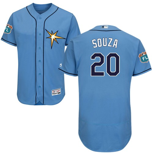 Rays #20 Steven Souza Light Blue Flexbase Authentic Collection Stitched MLB Jersey