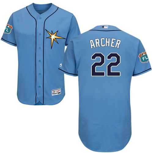 Rays #22 Chris Archer Light Blue Flexbase Authentic Collection Stitched MLB Jersey