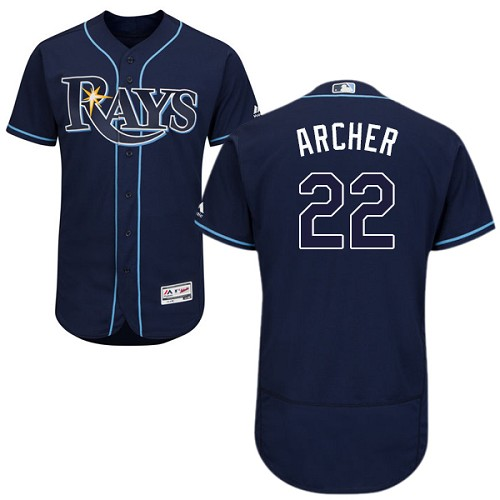 Rays #22 Chris Archer Dark Blue Flexbase Authentic Collection Stitched MLB Jersey