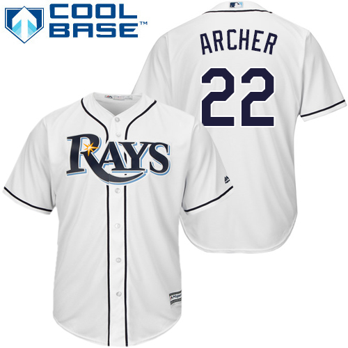 Rays #22 Chris Archer White New Cool Base Stitched MLB Jersey