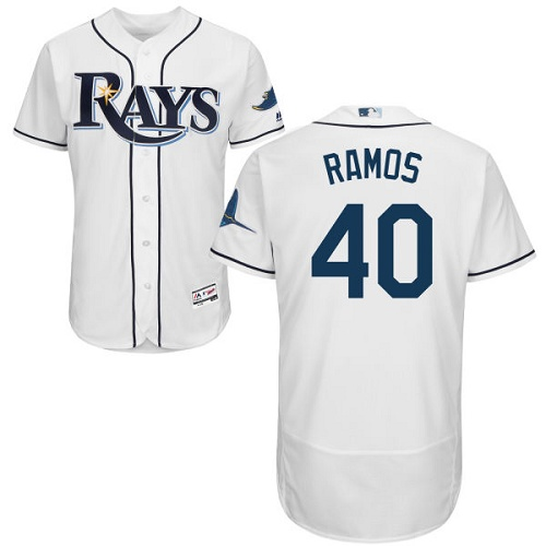 Rays #40 Wilson Ramos White Flexbase Authentic Collection Stitched MLB Jersey