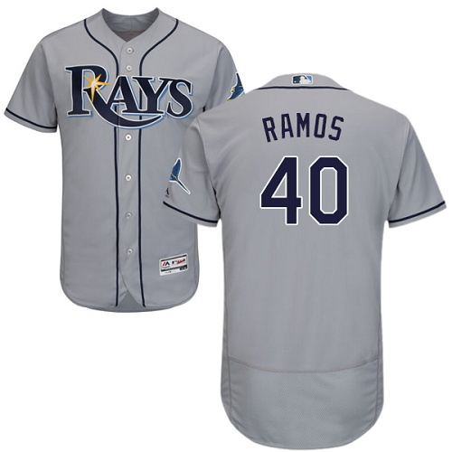 Rays #40 Wilson Ramos Grey Flexbase Authentic Collection Stitched MLB Jersey
