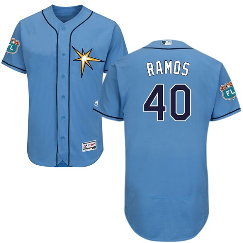 Rays #40 Wilson Ramos Light Blue Flexbase Authentic Collection Stitched MLB Jersey