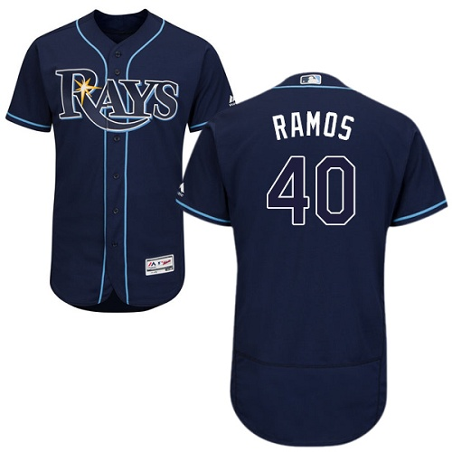 Rays #40 Wilson Ramos Dark Blue Flexbase Authentic Collection Stitched MLB Jersey