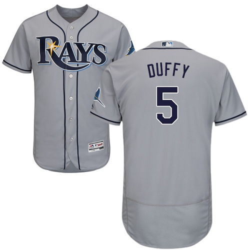 Rays #5 Matt Duffy Grey Flexbase Authentic Collection Stitched MLB Jersey