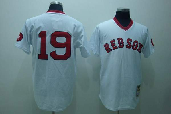 Mitchell and Ness Red Sox #19 Fred Lynn Stitched White Throwback MLB Jersey