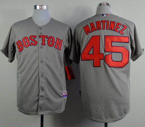 Red Sox #45 Pedro Martinez Grey Cool Base Stitched MLB Jersey