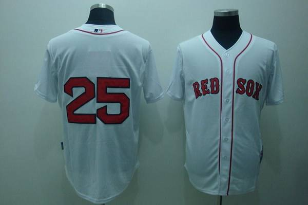 Red Sox #25 Mike Lowell Stitched White MLB Jersey