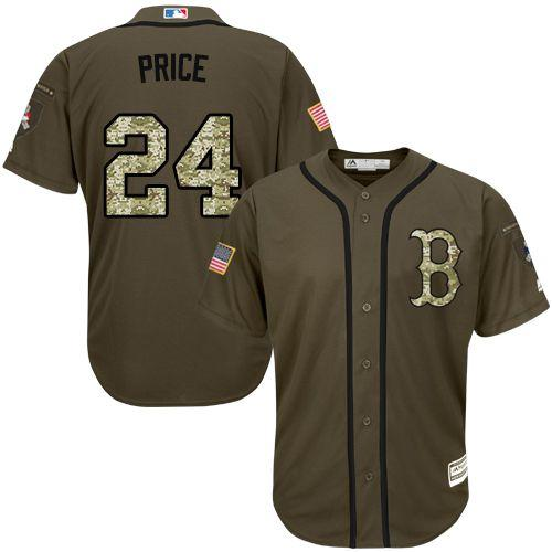 Red Sox #24 David Price Green Salute to Service Stitched MLB Jersey