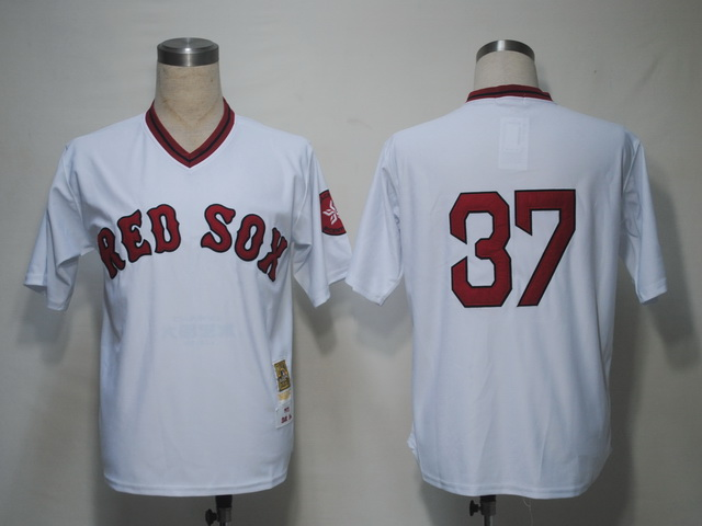 Mitchell and Ness Red Sox #37 Bill Lee White Stitched Throwback MLB Jersey