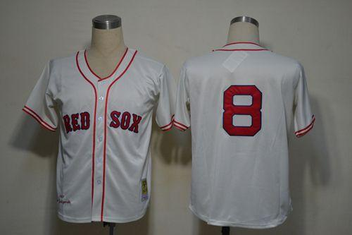 Mitchell And Ness 1967 Red Sox #8 Carl Yastrzemski Cream Stitched Throwback MLB Jersey