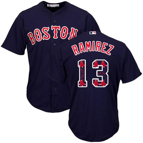Red Sox #13 Hanley Ramirez Navy Blue Team Logo Fashion Stitched MLB Jersey