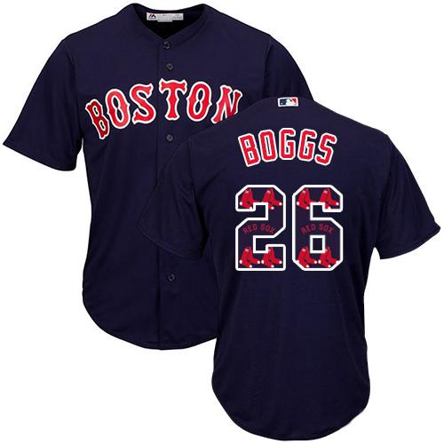 Red Sox #26 Wade Boggs Navy Blue Team Logo Fashion Stitched MLB Jersey