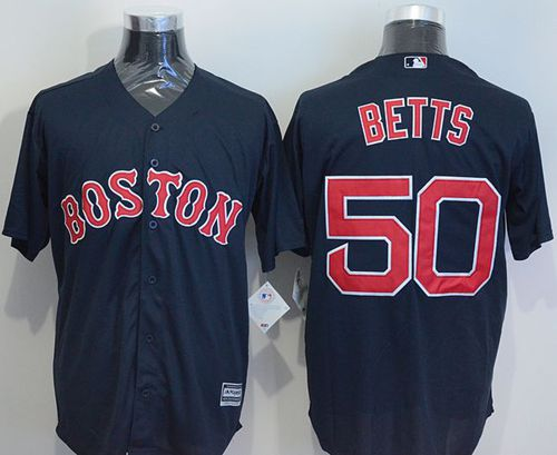 Red Sox #50 Mookie Betts Navy Blue New Cool Base Stitched MLB Jersey
