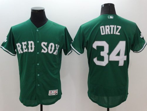 Red Sox #34 David Ortiz Green Celtic Flexbase Authentic Collection Stitched MLB Jersey