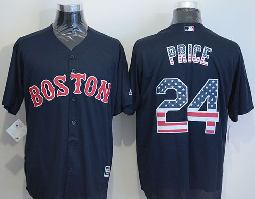 Red Sox #24 David Price Navy Blue USA Flag Fashion Stitched MLB Jersey