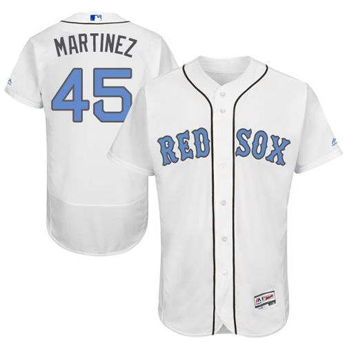 Red Sox #45 Pedro Martinez White Flexbase Authentic Collection Father's Day Stitched MLB Jersey