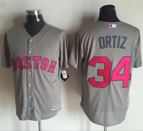 Red Sox #34 David Ortiz Grey New Cool Base Mother's Day Stitched MLB Jersey