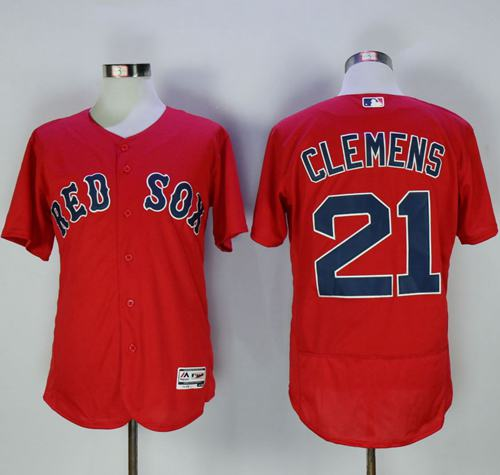 Red Sox #21 Roger Clemens Red Flexbase Authentic Collection Stitched MLB Jersey