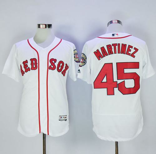 Red Sox #45 Pedro Martinez White Flexbase Authentic Collection Stitched MLB Jersey