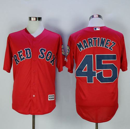 Red Sox #45 Pedro Martinez Red New Cool Base Stitched MLB Jersey