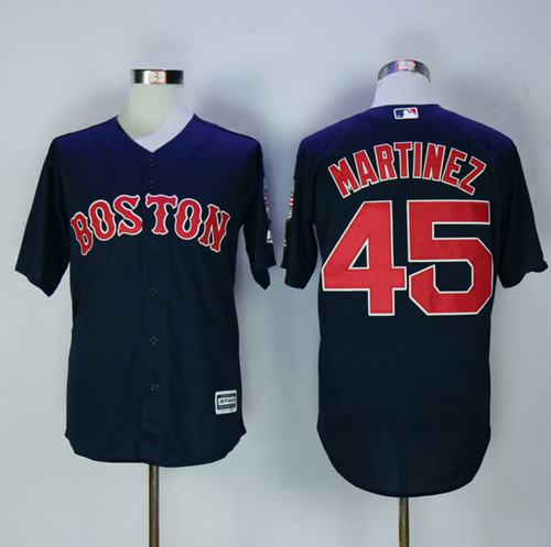 Red Sox #45 Pedro Martinez Navy Blue New Cool Base Stitched MLB Jersey