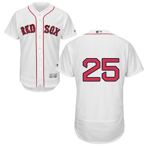 Red Sox #25 Jackie Bradley Jr White Flexbase Authentic Collection Stitched MLB Jersey