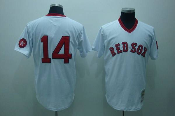 Mitchell and Ness Red Sox #14 Jim Rice Stitched White Throwback MLB Jersey